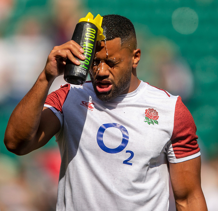 England's Joe Cokanasiga during the pre match warm up<br /> <br /> Photographer Bob Bradford/CameraSport<br /> <br /> Quilter Internationals - England v Ireland - Saturday August 24th 2019 - Twickenham Stadium - London<br /> <br /> World Copyright © 2019 CameraSport. All rights reserved. 43 Linden Ave. Countesthorpe. Leicester. England. LE8 5PG - Tel: +44 (0) 116 277 4147 - admin@camerasport.com - www.camerasport.com