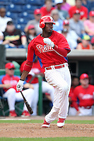 Philadelphia Phillies Domonic Brown #9 during a scrimmage vs the Florida State Seminoles  at Bright House Field in Clearwater, Florida;  February 24, 2011.  Philadelphia defeated Florida State 8-0.  Photo By Mike Janes/Four Seam Images