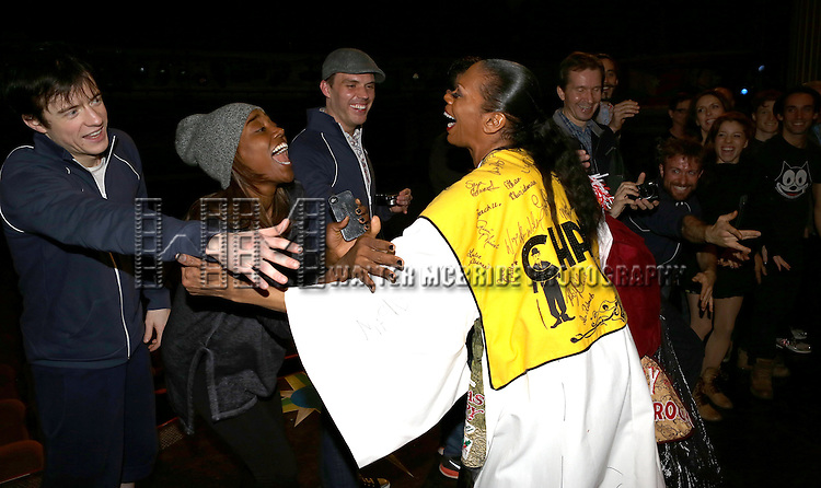Stephanie Pope with Matthew James Thomas, Patina Miller & cast   attending the Broadway Opening Night Gypsy Robe Ceremony honoring Stephanie Pope for 'Pippin' at the Music Box Theatre in New York City on 4/25/2013