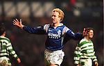 Erik Bo Andersen celebrates his late double against Celtic in the new years derby match at Ibrox 1996