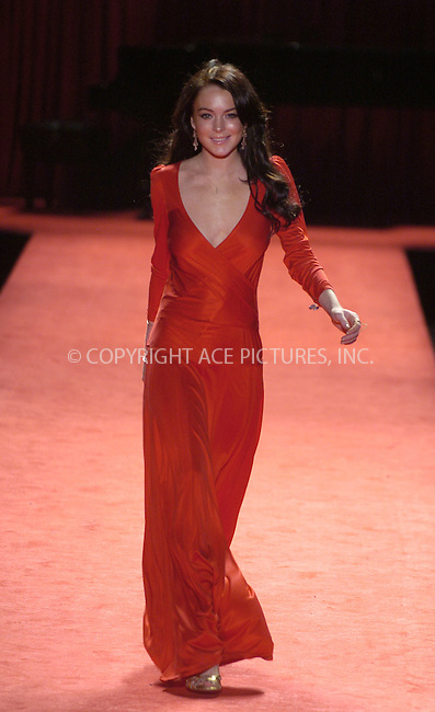 WWW.ACEPIXS.COM....February 3 2006, New York City....LINDSAY LOHAN walking the runway for the Heart Truth Red Dress show at Olympus New York Fashion Week.....Please byline: PHILIP VAUGHAN/ACEPIXS.COM....For information please contact Philip Vaughan:..tel: 212 243 8787 or 646 769 0430..e-mail: info@acepixs.com..website: www.acepixs.com