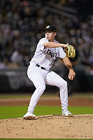 Charlotte Knights relief pitcher Hunter Schryver (34) in action against the Scranton/Wilkes-Barre RailRiders at BB&T BallPark on August 14, 2019 in Charlotte, North Carolina. The Knights defeated the RailRiders 13-12 in ten innings. (Brian Westerholt/Four Seam Images)