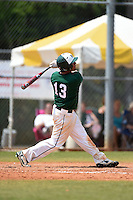 Farmingdale State Rams Nick Osburn hits a home run during a game against the U-Mass Boston Beacons at North Charlotte Regional Park on March 19, 2015 in Port Charlotte, Florida.  U-Mass Boston defeated Farmingdale 9-5.  (Mike Janes/Four Seam Images)