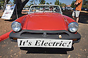 A front view of a MG Midget which has been custom converted to electric power. At an Electric Vehicle Rally in Palo Alto. Hosted by the Silicon Valley Chapter of the Electric Auto Association. Palo Alto, California, USA