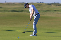 Gareth Bohill (Co. Louth) on the 1st green during Round 2 of the East of Ireland Amateur Open Championship 2018 at Co. Louth Golf Club, Baltray, Co. Louth on Sunday 3rd June 2018.<br /> Picture:  Thos Caffrey / Golffile<br /> <br /> All photo usage must carry mandatory copyright credit (&copy; Golffile | Thos Caffrey)