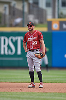 Altoona Curve first baseman Logan Hill (23) during an Eastern League game against the Erie SeaWolves and on June 4, 2019 at UPMC Park in Erie, Pennsylvania.  Altoona defeated Erie 3-0.  (Mike Janes/Four Seam Images)