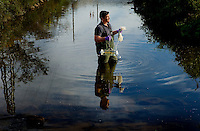 Catawba Riverkeeper Sam Perkins at work testing the waters in the Charlotte, North Carolina area.<br />