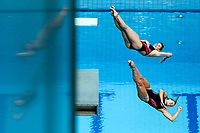 Picture by Rogan Thomson/SWpix.com - 17/07/2017 - Diving - Fina World Championships 2017 -  Duna Arena, Budapest, Hungary - Grace Reid and Katherine Torrance of Great Britain in action in the Women's 3m Synchronised Springboard Final.