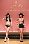 November 7, 2016, Tokyo, Japan - Models display Japanese apparel maker Wacoal's San-ai swimsuits brand's 2017 swimsuits collection in Tokyo on Monday, November 7, 2016. The 21-year-old China born weather reporter Kumae is selected for the 2017 San-ai campaign girl, replacement of Erika Matsumoto.  (Photo by Yoshio Tsunoda/AFLO) LWX -ytd-