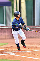 Elizabethton Twins center fielder Gilberto Celestino (25) swings at a pitch during a game against the Kingsport Mets at Joe O'Brien Field on August 7, 2018 in Elizabethton, Tennessee. The Twins defeated the Mets 16-10. (Tony Farlow/Four Seam Images)