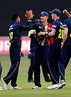 Imran Quayyum is congratulated after bowling Aaron Finch during the Vitality Blast south group game between Kent Spitfires and Surrey at the St Lawrence ground, Canterbury, on Fri July 20, 2018