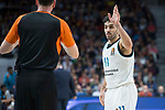 Real Madrid Facundo Campazzo talking with the referee during Turkish Airlines Euroleague match between Real Madrid and Fenerbahce Dogus at Wizink Center in Madrid , Spain. March 02, 2018. (ALTERPHOTOS/Borja B.Hojas)