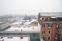 Roma 3 Febbraio 2012.Nevicata a Roma, la Basilica Di San Lorenzo fuori le mura coperta di neve