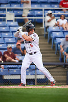 Binghamton Rumble Ponies first baseman Matt Oberste (5) at bat during a game against the Hartford Yard Goats on July 9, 2017 at NYSEG Stadium in Binghamton, New York.  Hartford defeated Binghamton 7-3.  (Mike Janes/Four Seam Images)