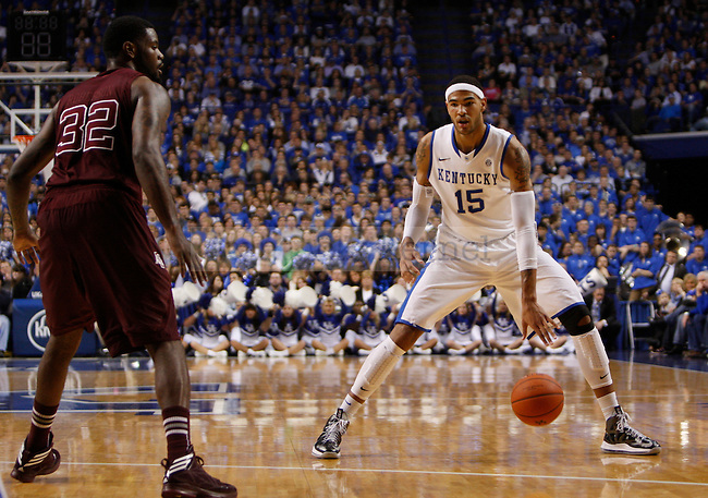 Freshman foward Willy Cauley-Stein dribbles the ball down the court during the Men's University of Kentucky basketball game against Texas A&M at Rupp Arena on January 12th, 2013. Photo by Kirsten Holliday | Staff