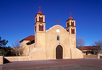 Roman Catholic church built in 1819-21 and still in use. A portion of the south wall dates from the original 1598 mission which was destroyed in the Pueblo Rebellion of 1680. Socorro New Mexico USA Socorro, NM.