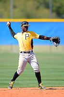 Pittsburgh Pirates infielder Dilson Herrera #73 during a minor league spring training game against the Toronto Blue Jays at Englebert Minor League Complex on March 16, 2013 in Dunedin, Florida.  (Mike Janes/Four Seam Images)