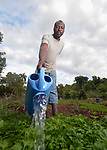 Paulfils Saint Hubert waters plants in a vegetable nursery on the Haitian island of La Gonave where Service Chrétien d'Haïti is working with survivors of Hurricane Matthew, which struck the region in 2016. SCH, a member of the ACT Alliance, supports agriculture on the island by providing tools, seeds, and technical support and training for farmers.