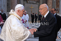 Silvio Berlusconi giorgio Napolitano,Pope Benedict XVI leads the beatification ceremony of Pope John Paul II in St. Peter's square in the Vatican.May 1, 2011,