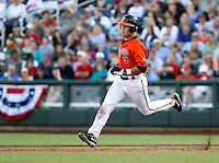 Virginia's David Coleman legs out a double in the sixth inning. Virginia beat Cal 8-1 at the College World Series on June 23, 2011 in Omaha, Neb. (Photo by Michelle Bishop)..