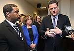 Nevada Democrats, from left, Senate Majority Leader Steven Horsford, Assemblywoman Debbie Smith, Sen. Sheila Leslie, and Assembly Speaker John Oceguera answer media questions Thursday, May 26, 2011, at the Legislature in Carson City, Nev.  .Photo by Cathleen Allison