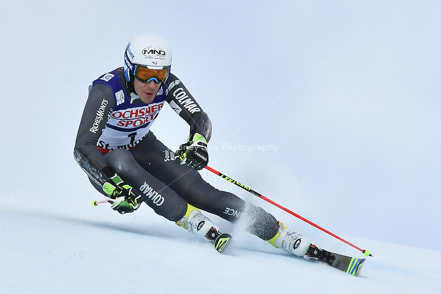 February 17, 2017: Victor MUFFAT-JEANDET (FRA) competing in the men's giant slalom event at the FIS Alpine World Ski Championships at St Moritz, Switzerland. Photo Sydney Low