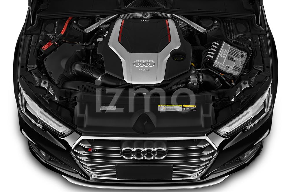 Car Stock 2019 Audi S4 Premium-Plus 4 Door Sedan Engine  high angle detail view