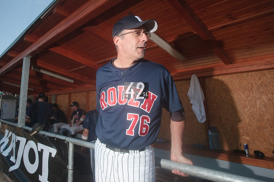 06 June 2010: Coach Francois Colombier of Rouen is seen in the dugout during the 2010 Baseball European Cup match won 10-8 by the Rouen Huskies over AVG Draci Brno, at the AVG Arena, in Brno, Czech Republic.