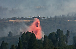 Greeley Hill, California-- July 31, 2008-Telegraph Fire-Wildfires Threaten Yosemite National Park. Bomber drops retardant to pretreat a hot spot near Bull Creek road on division M. ..Photo by Al GOLUB/Golub Photography