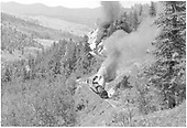 D&amp;RGW #497 and #488 with empty flats near Hamilton Point on west Cumbres Pass.<br /> D&amp;RGW  Cumbres Pass, CO  Taken by Bender, Henry E. Jr. - 6/22/1963