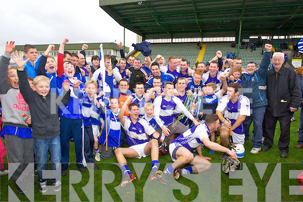 Saint Brendans players celebrate winning the County Senior Hurling Final over Lixnaw at Austin Stack park on Sunday.