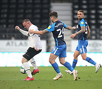 Preston North End's Sean Maguire battles with  Derby County's Wayne Rooney<br /> <br /> Photographer Mick Walker/CameraSport<br /> <br /> Carabao Cup Second Round Northern Section - Derby County v Preston North End - Tuesday 15th September 2020 - Pride Park Stadium - Derby<br />  <br /> World Copyright © 2020 CameraSport. All rights reserved. 43 Linden Ave. Countesthorpe. Leicester. England. LE8 5PG - Tel: +44 (0) 116 277 4147 - admin@camerasport.com - www.camerasport.com