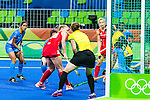 Giselle Ansley #18 of Great Britain takes a backhand shot to score during India vs Great Britain in a Pool B game at the Rio 2016 Olympics at the Olympic Hockey Centre in Rio de Janeiro, Brazil.