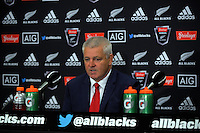 Wales head coach Warren Gatland fronts the post-match presser on his own after the Steinlager Series rugby union match between the New Zealand All Blacks and Wales at Westpac Stadium, Wellington, New Zealand on Saturday, 18 June 2016. Photo: Dave Lintott / lintottphoto.co.nz