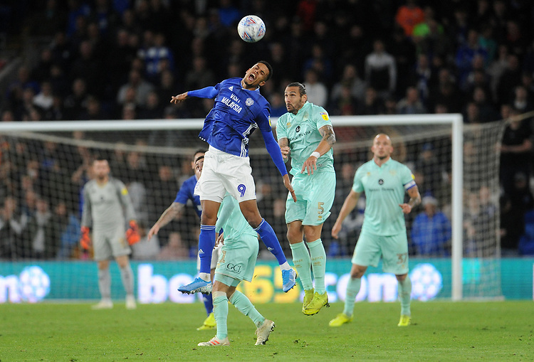 Cardiff City's Robert Glatzel is fouled by Queens Park Rangers' Geoff Cameron<br /> <br /> Photographer Ian Cook/CameraSport<br /> <br /> The EFL Sky Bet Championship - Cardiff City v Queens Park Rangers - Wednesday 2nd October 2019  - Cardiff City Stadium - Cardiff<br /> <br /> World Copyright © 2019 CameraSport. All rights reserved. 43 Linden Ave. Countesthorpe. Leicester. England. LE8 5PG - Tel: +44 (0) 116 277 4147 - admin@camerasport.com - www.camerasport.com