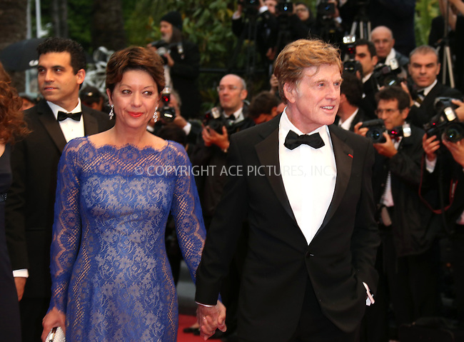 WWW.ACEPIXS.COM....US Sales Only....May 22 2013, Cannes....Robert Redford with Sibylle Szaggars at the premiere of 'All Is Lost' during the 66th Cannes Film Festival on May 22 2013 in France ....By Line: Famous/ACE Pictures......ACE Pictures, Inc...tel: 646 769 0430..Email: info@acepixs.com..www.acepixs.com