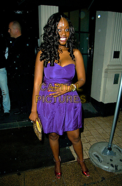 MAKOSI MUSAMBASI.The MOBO Awards launch at MO*VIDA, London, England. .August 22nd, 2007 .movida full length purple strapless dress red shoes hair jewel nail polish varnish gold bag purse .CAP/CAN.©Can Nguyen/Capital Pictures