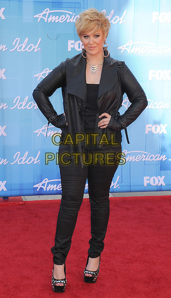 Erika Van Pelt.American Idol Season 11 Finale - Arrivals held at Nokia Theatre LA Live, Los Angeles, California, USA..May 23rd, 2012.full length black jeans denim jacket hands on hips.CAP/ROT/TM.©Tony Michaels/Roth Stock/Capital Pictures