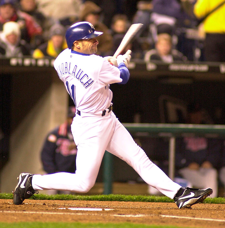 Royals left fielder Chuck Knoblauch bats in the first inning against the Minnesota Twins at Kauffman Stadium in Kansas City, Missouri on April 3, 2002.