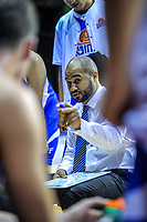 Saints coach Kevin Braswell makes a point during the national basketball league match between Wellington Saints and Taylor Hawks at TSB Bank Arena in Wellington, New Zealand on Friday, 11 May 2018. Photo: Dave Lintott / lintottphoto.co.nz