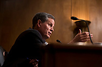 United States Senator Steve Daines (Republican of Montana) asks Kirstjen Nielsen a question during Nielsen's confirmation hearing to be US Secretary of Homeland Security before the US Senate Homeland Security and Government Affairs Committee on Capitol Hill in Washington, D.C. on November 8th, 2017. <br /> Credit: Alex Edelman / CNP /MediaPunch