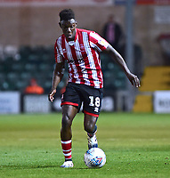Lincoln City's Bernard Mensah<br /> <br /> Photographer Andrew Vaughan/CameraSport<br /> <br /> The EFL Checkatrade Trophy Northern Group H - Lincoln City v Wolverhampton Wanderers U21 - Tuesday 6th November 2018 - Sincil Bank - Lincoln<br />  <br /> World Copyright © 2018 CameraSport. All rights reserved. 43 Linden Ave. Countesthorpe. Leicester. England. LE8 5PG - Tel: +44 (0) 116 277 4147 - admin@camerasport.com - www.camerasport.com