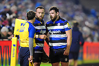 Tom Dunn and Nathan Catt of Bath Rugby have a word with an assistant referee. Aviva Premiership match, between Bath Rugby and Northampton Saints on February 10, 2017 at the Recreation Ground in Bath, England. Photo by: Patrick Khachfe / Onside Images