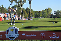 Henrik Stenson (Team Europe) on the 14th tee during Saturday afternoon Fourball at the Ryder Cup, Hazeltine National Golf Club, Chaska, Minnesota, USA.  01/10/2016<br /> Picture: Golffile | Fran Caffrey<br /> <br /> <br /> All photo usage must carry mandatory copyright credit (&copy; Golffile | Fran Caffrey)