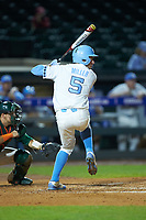Brian Miller (5) of the North Carolina Tar Heels at bat against the Miami Hurricanes in the second semifinal of the 2017 ACC Baseball Championship at Louisville Slugger Field on May 27, 2017 in Louisville, Kentucky. The Tar Heels defeated the Hurricanes 12-4. (Brian Westerholt/Four Seam Images)
