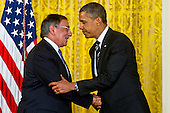 United States President Barack Obama thanks U.S. Secretary of Defense Leon E. Panetta speaks at the nomination announcement for former U.S. Senator Chuck Hagel (Republican of Nebraska) as the next Secretary of Defense at the White House, Monday, January 7, 2013. .Mandatory Credit: Chad J. McNeeley / DoD via CNP