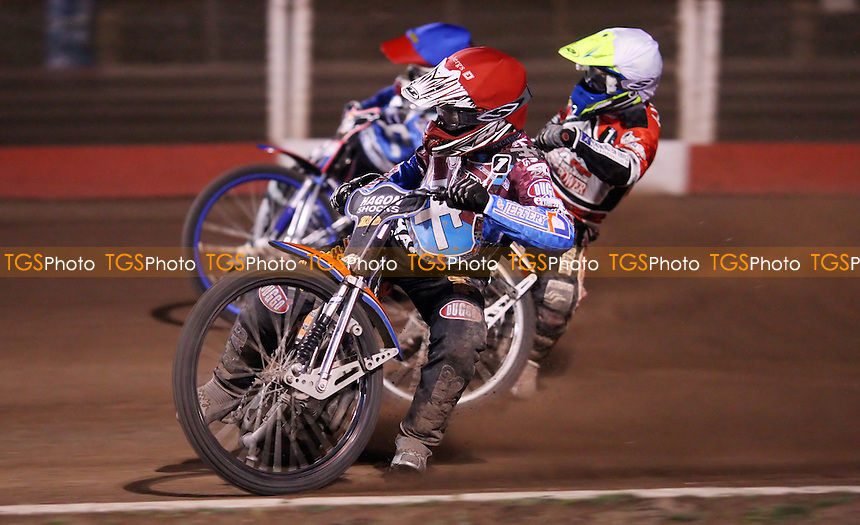 Heat 13: Peter Karlsson (red), Kenneth Bjerre (white) and Davey Watt (blue) - Lakeside Hammers vs Peterborough Panthers, Elite League Speedway at the Arena Essex Raceway, Pufleet - 10/05/13 - MANDATORY CREDIT: Rob Newell/TGSPHOTO - Self billing applies where appropriate - 0845 094 6026 - contact@tgsphoto.co.uk - NO UNPAID USE.