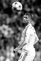 Cristiano Ronaldo of Real Madrid during the Champions League group B soccer match between Real Madrid and FC Basel 1893 at Santiago Bernabeu Stadium in Madrid, Spain. September 16, 2014. (ALTERPHOTOS/Caro Marin)(EDITORS NOTE: This image has been converted to black and white)