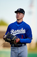 Rancho Cucamonga Quakes center fielder Jeren Kendall (3) jogs off the field between innings of a California League game against the Stockton Ports at Banner Island Ballpark on May 16, 2018 in Stockton, California. Rancho Cucamonga defeated Stockton 6-3. (Zachary Lucy/Four Seam Images)