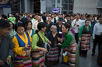 Dalai Lama supporters exit the Javitz Center while Shugden Community members and American tibetans take part in a protest regarding religious intolerance against their Buddhist community while the Dalai Lama visits New York. 07.09.2015. Eduardo MunozAlvarez/VIEWpress.